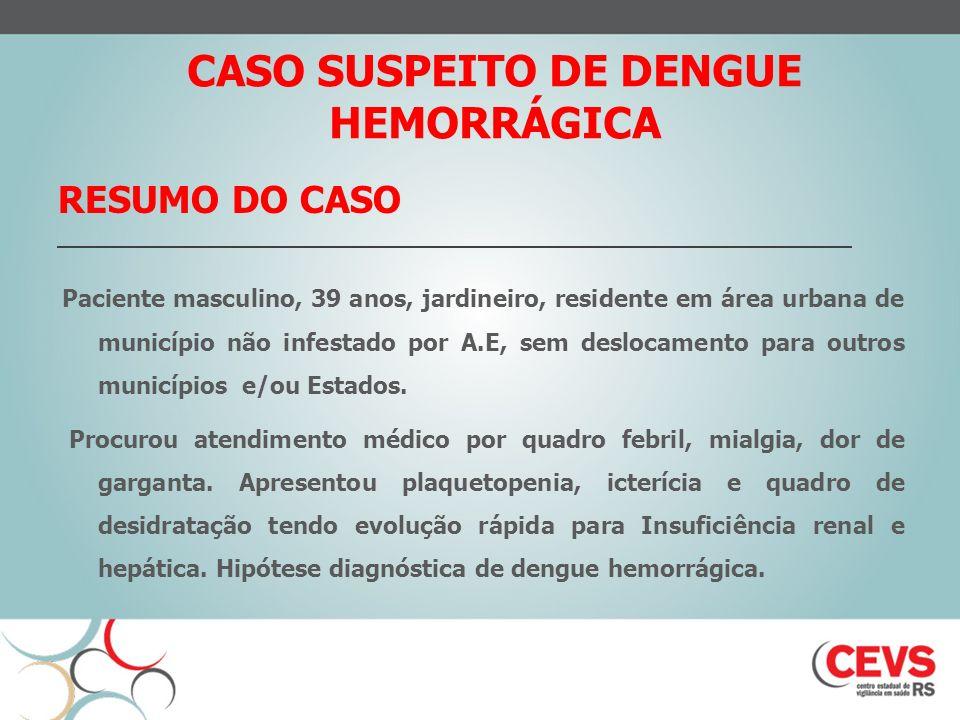 RESUMO DO CASO Paciente masculino, 39 anos, jardineiro, residente em área urbana de município não infestado por A.E, sem deslocamento para outros municípios e/ou Estados.