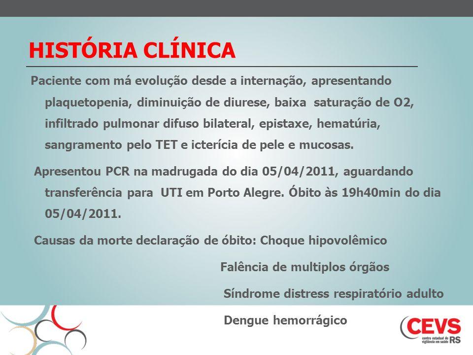 HISTÓRIA CLÍNICA Paciente com má evolução desde a internação, apresentando plaquetopenia, diminuição de diurese, baixa saturação de O2, infiltrado pul
