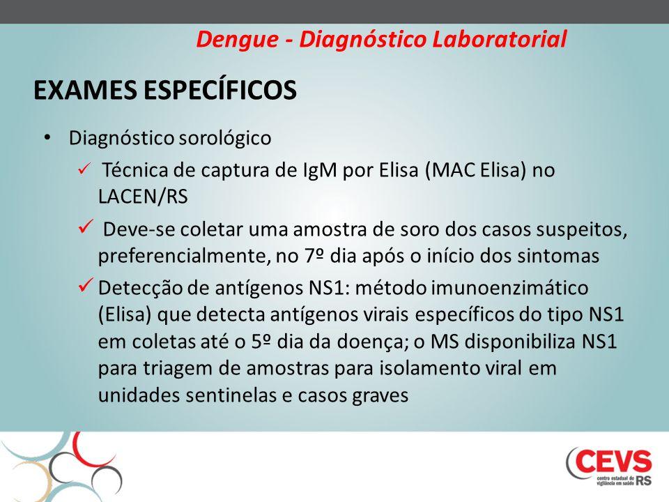 EXAMES ESPECÍFICOS Diagnóstico sorológico Técnica de captura de IgM por Elisa (MAC Elisa) no LACEN/RS Deve-se coletar uma amostra de soro dos casos suspeitos, preferencialmente, no 7º dia após o início dos sintomas Detecção de antígenos NS1: método imunoenzimático (Elisa) que detecta antígenos virais específicos do tipo NS1 em coletas até o 5º dia da doença; o MS disponibiliza NS1 para triagem de amostras para isolamento viral em unidades sentinelas e casos graves Dengue - Diagnóstico Laboratorial