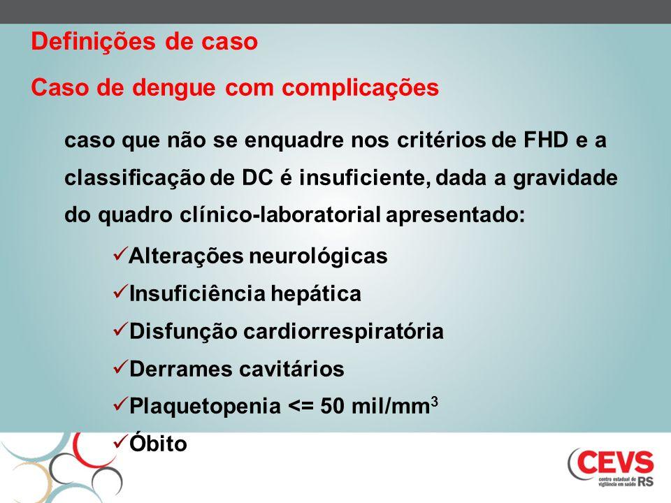 Caso de dengue com complicações caso que não se enquadre nos critérios de FHD e a classificação de DC é insuficiente, dada a gravidade do quadro clíni