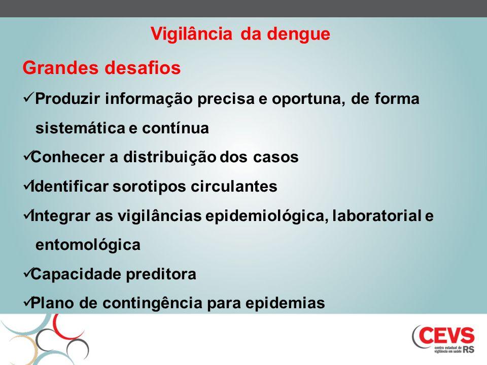 Grandes desafios Produzir informação precisa e oportuna, de forma sistemática e contínua Conhecer a distribuição dos casos Identificar sorotipos circu
