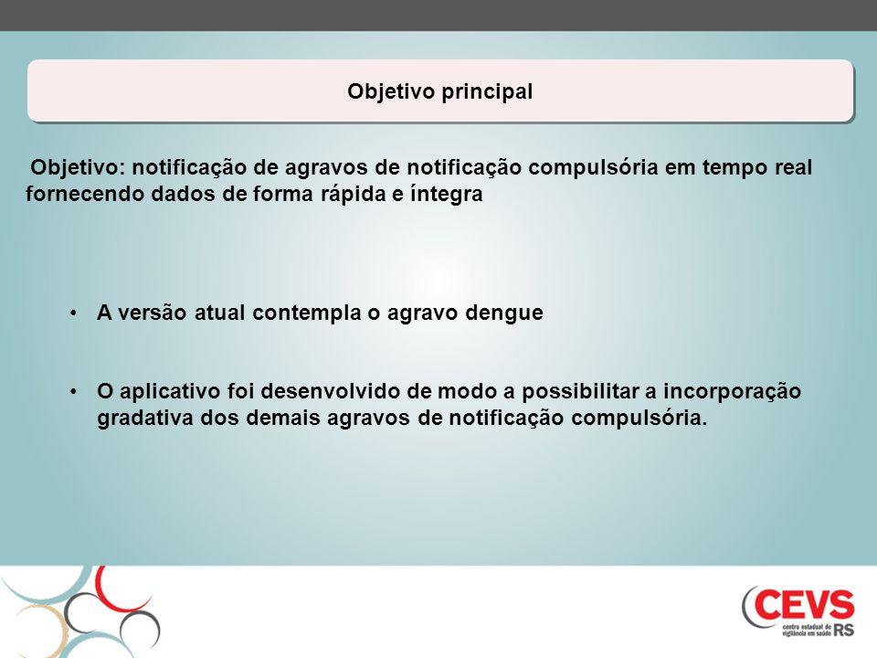 Objetivo principal Objetivo: notificação de agravos de notificação compulsória em tempo real fornecendo dados de forma rápida e íntegra A versão atual