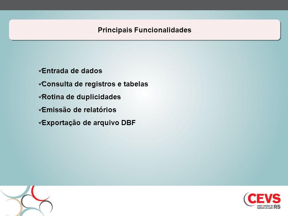Principais Funcionalidades Entrada de dados Consulta de registros e tabelas Rotina de duplicidades Emissão de relatórios Exportação de arquivo DBF
