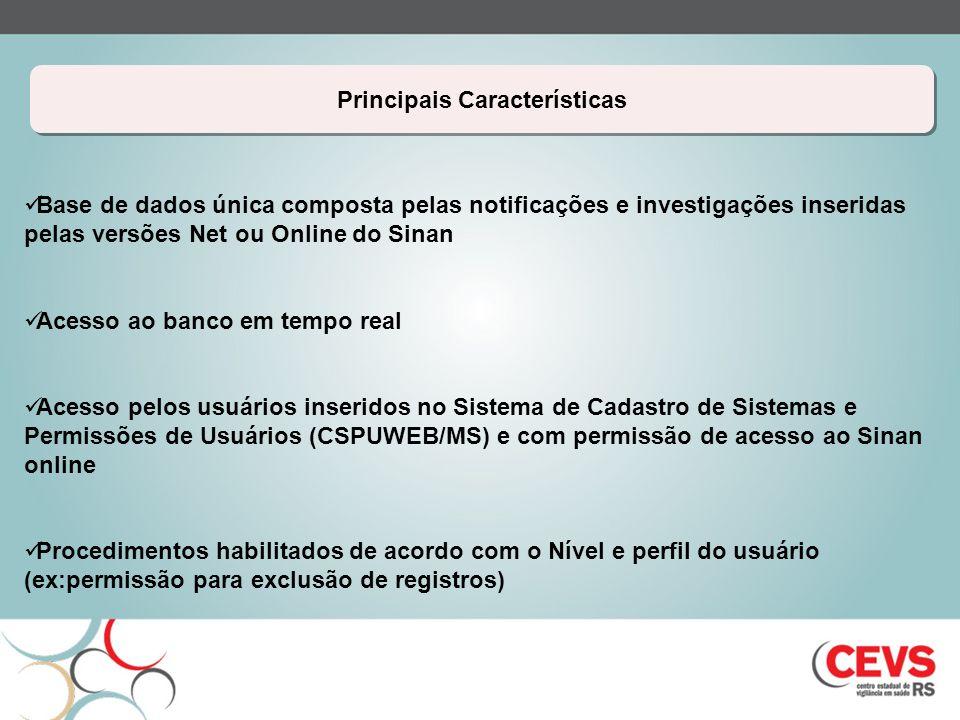 Principais Características Base de dados única composta pelas notificações e investigações inseridas pelas versões Net ou Online do Sinan Acesso ao ba