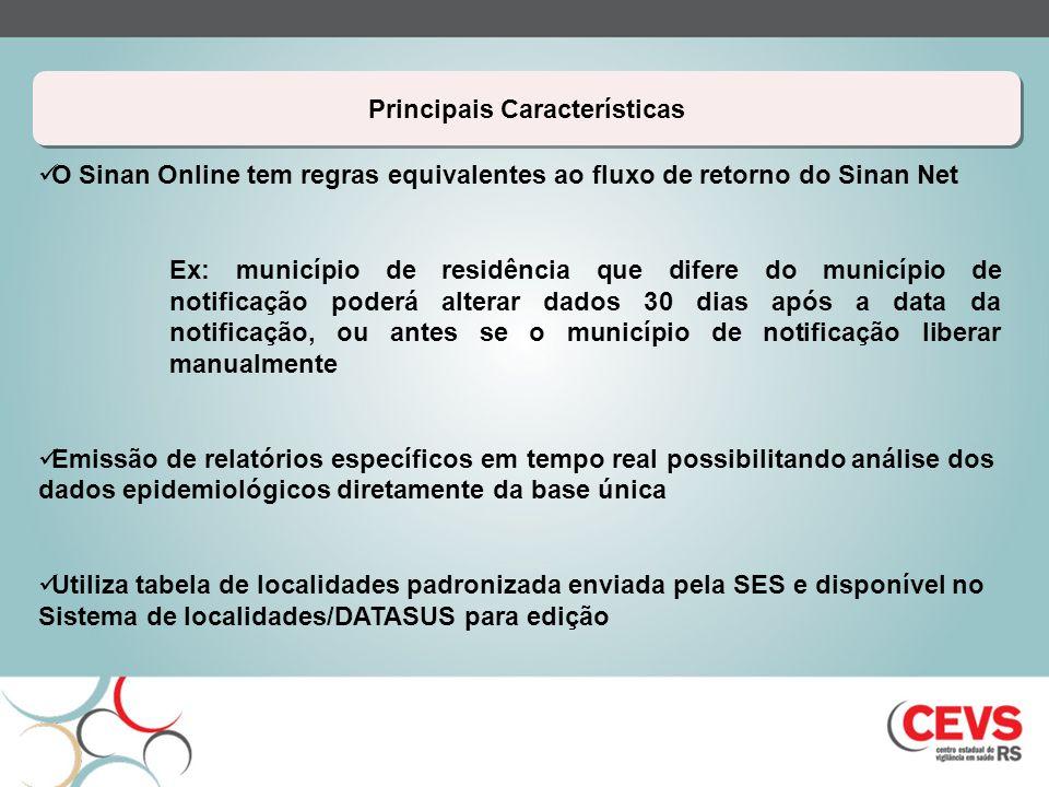 Principais Características O Sinan Online tem regras equivalentes ao fluxo de retorno do Sinan Net Ex: município de residência que difere do município