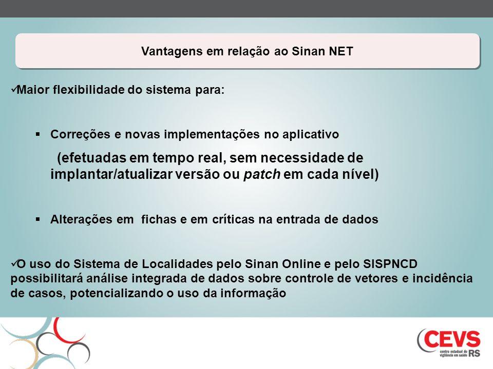 Vantagens em relação ao Sinan NET Maior flexibilidade do sistema para: Correções e novas implementações no aplicativo (efetuadas em tempo real, sem ne