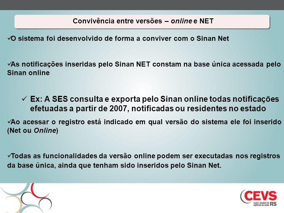 Convivência entre versões – online e NET Convivência entre versões – online e NET O sistema foi desenvolvido de forma a conviver com o Sinan Net As no