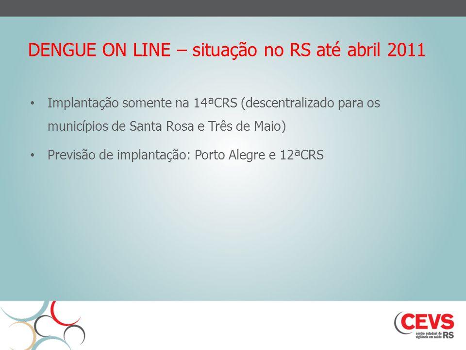 DENGUE ON LINE – situação no RS até abril 2011 Implantação somente na 14ªCRS (descentralizado para os municípios de Santa Rosa e Três de Maio) Previsão de implantação: Porto Alegre e 12ªCRS