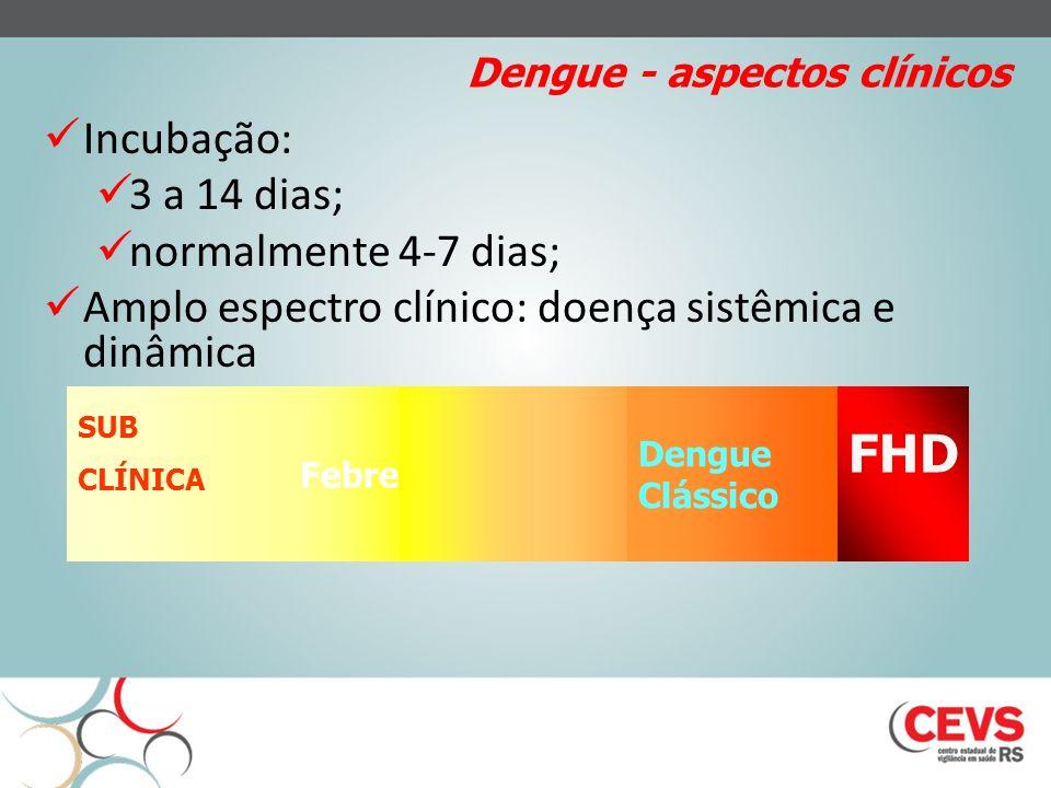 Dengue - aspectos clínicos Incubação: 3 a 14 dias; normalmente 4-7 dias; Amplo espectro clínico: doença sistêmica e dinâmica SUB CLÍNICA Febre Dengue