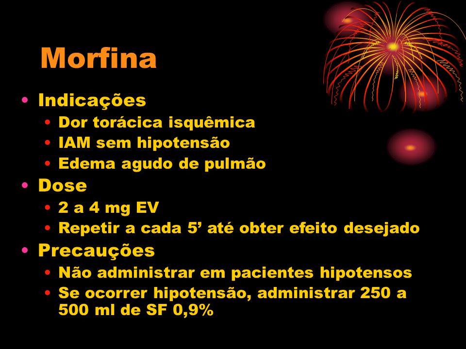 Morfina Indicações Dor torácica isquêmica IAM sem hipotensão Edema agudo de pulmão Dose 2 a 4 mg EV Repetir a cada 5 até obter efeito desejado Precauç
