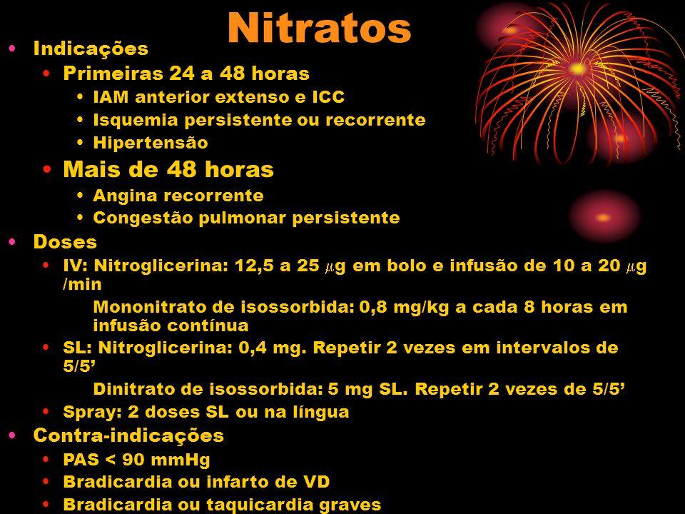 Nitratos Indicações Primeiras 24 a 48 horas IAM anterior extenso e ICC Isquemia persistente ou recorrente Hipertensão Mais de 48 horas Angina recorren