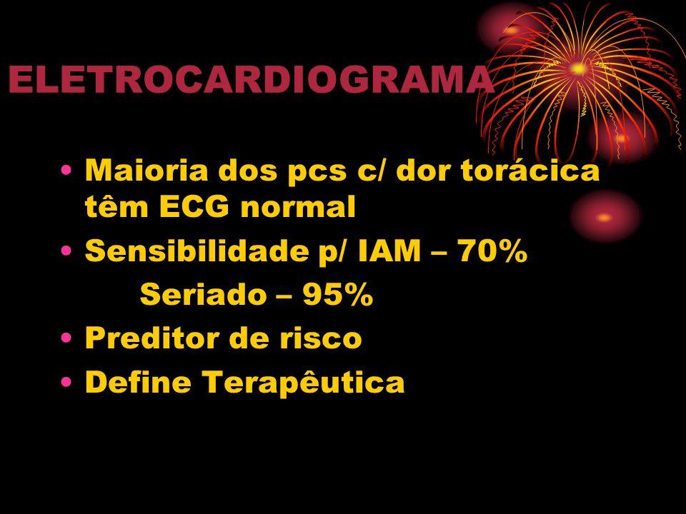 ELETROCARDIOGRAMA Maioria dos pcs c/ dor torácica têm ECG normal Sensibilidade p/ IAM – 70% Seriado – 95% Preditor de risco Define Terapêutica