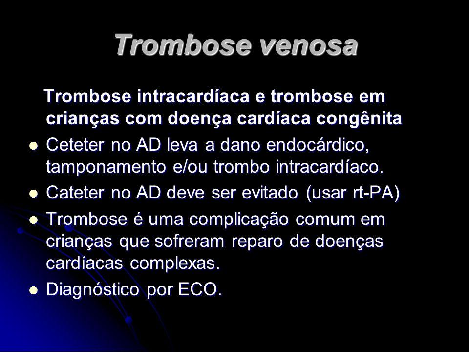 Trombose venosa Trombose intracardíaca e trombose em crianças com doença cardíaca congênita Trombose intracardíaca e trombose em crianças com doença c