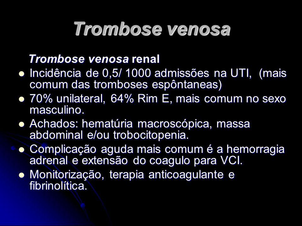 Trombose venosa Trombose venosa renal Trombose venosa renal Incidência de 0,5/ 1000 admissões na UTI, (mais comum das tromboses espôntaneas) Incidênci