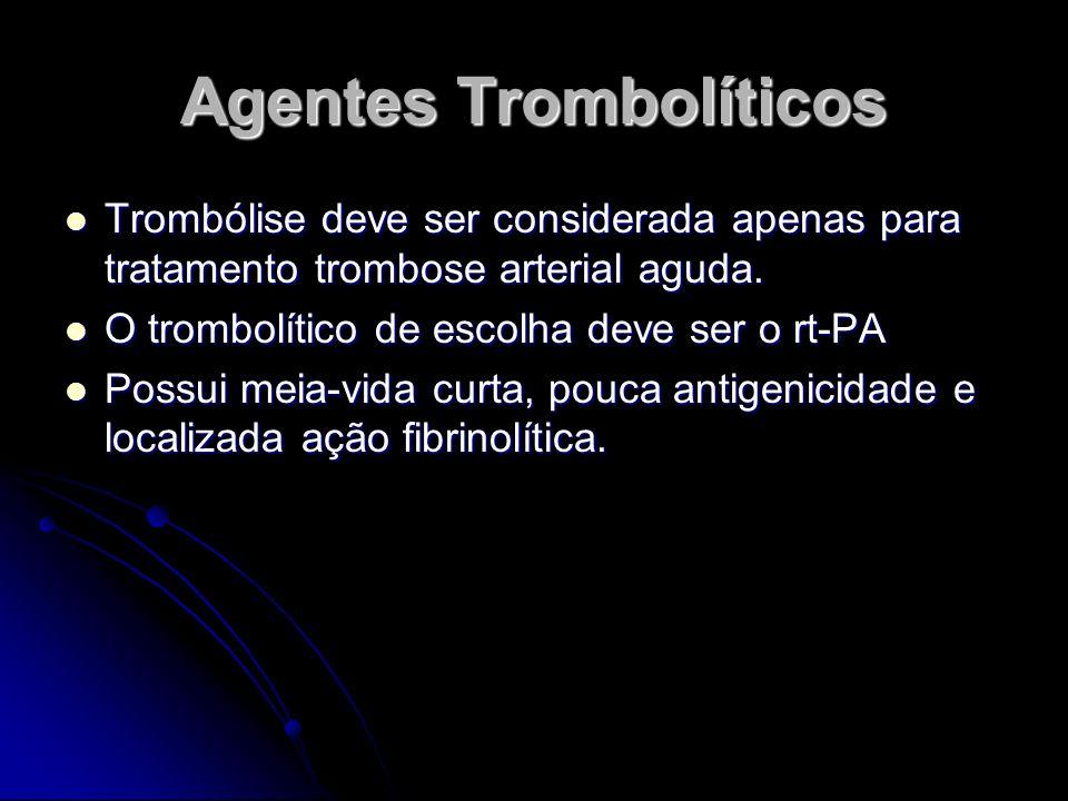 Agentes Trombolíticos Trombólise deve ser considerada apenas para tratamento trombose arterial aguda. Trombólise deve ser considerada apenas para trat