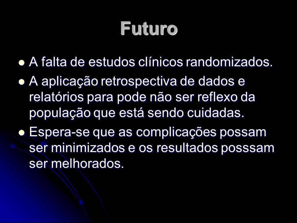 Futuro A falta de estudos clínicos randomizados. A falta de estudos clínicos randomizados. A aplicação retrospectiva de dados e relatórios para pode n