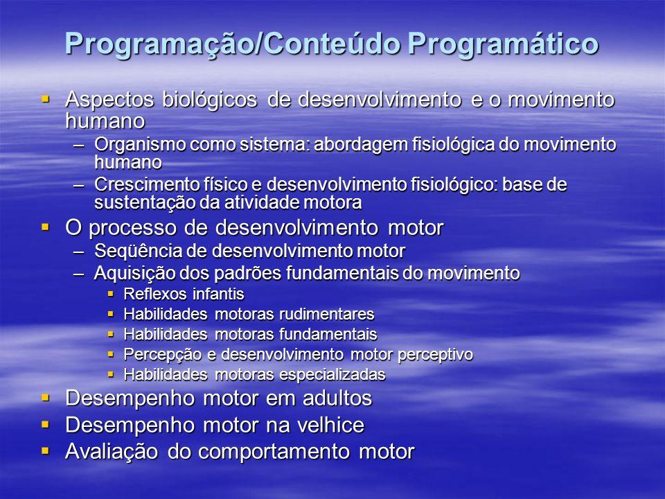 Programação/Conteúdo Programático Terminologia usada no desenvolvimento motor: Terminologia usada no desenvolvimento motor: –Aprendizagem motora –Dese