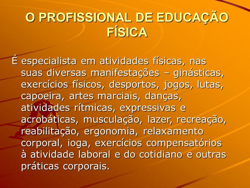 Educação Física Conjunto das atividades físicas e desportivas; atividades físicas atividades físicas Profissão constituída pelo conjunto dos graduados