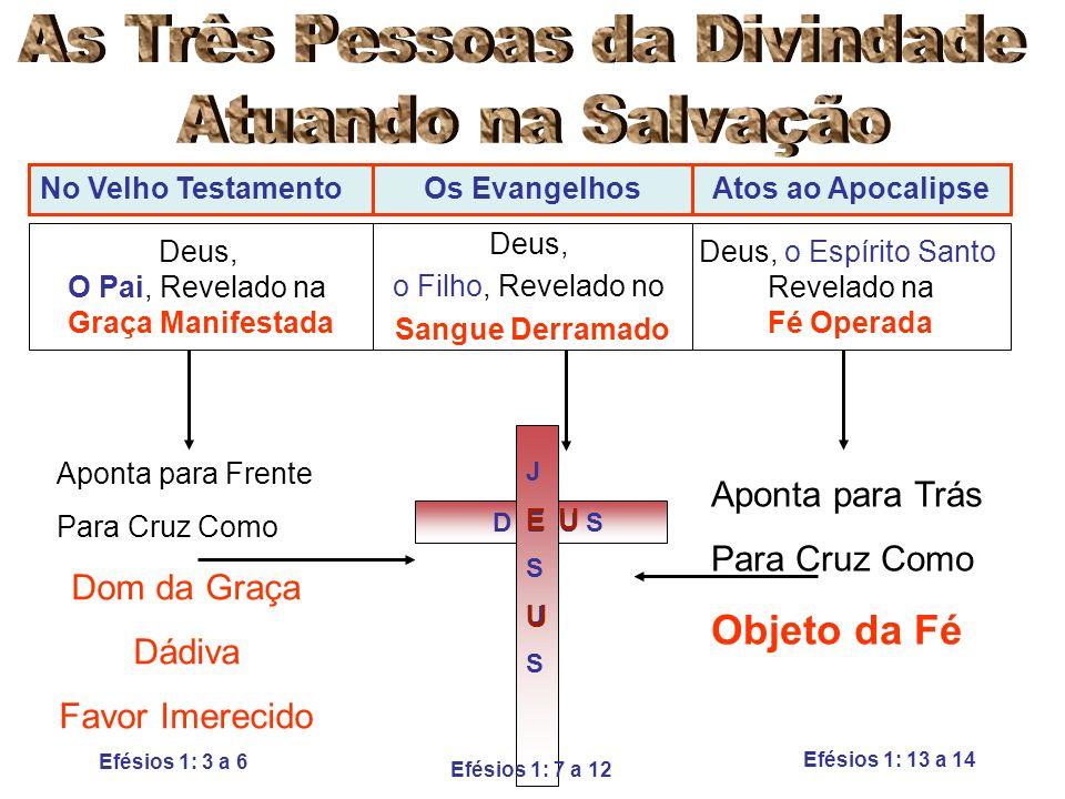 No Velho TestamentoOs EvangelhosAtos ao Apocalipse Deus, O Pai, Revelado na Graça Manifestada Deus, o Filho, Revelado no Sangue Derramado Deus, o Espí