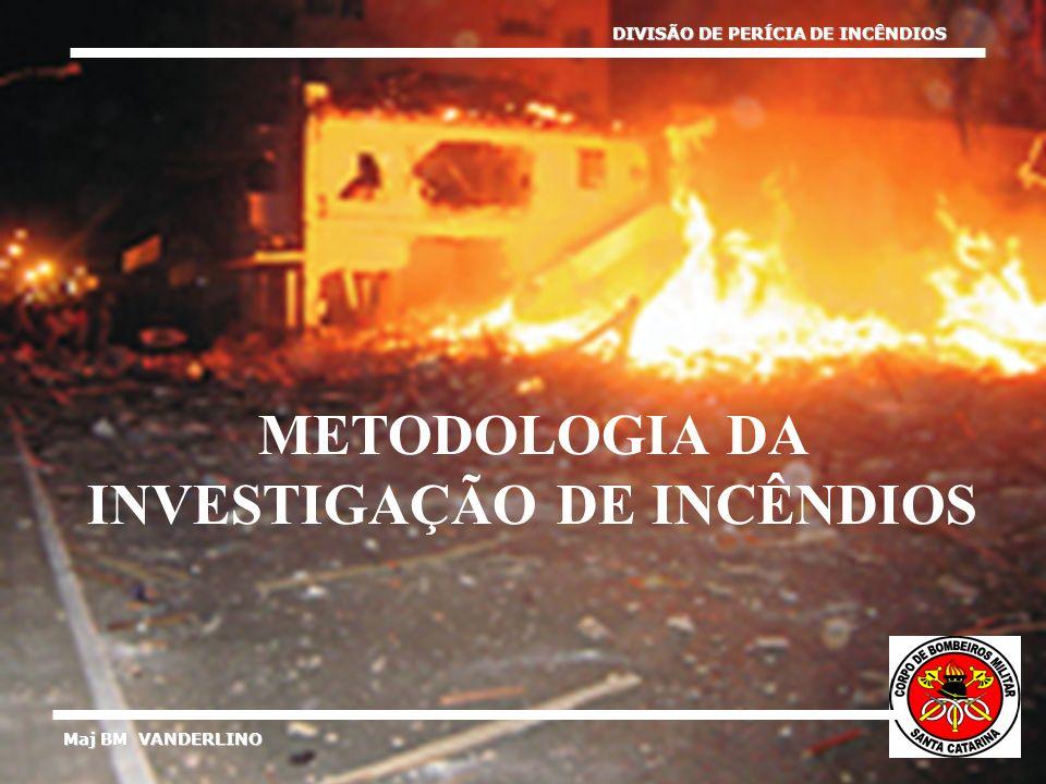 Maj BM VANDERLINO DIVISÃO DE PERÍCIA DE INCÊNDIOS METODOLOGIA DA INVESTIGAÇÃO DE INCÊNDIOS