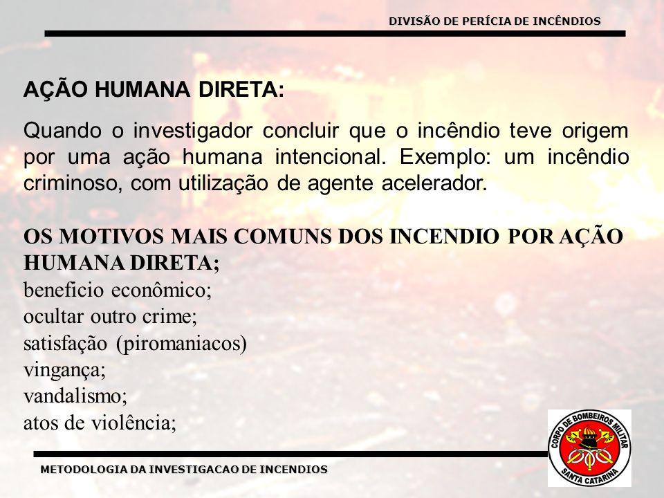 METODOLOGIA DA INVESTIGACAO DE INCENDIOS AÇÃO HUMANA DIRETA: Quando o investigador concluir que o incêndio teve origem por uma ação humana intencional.