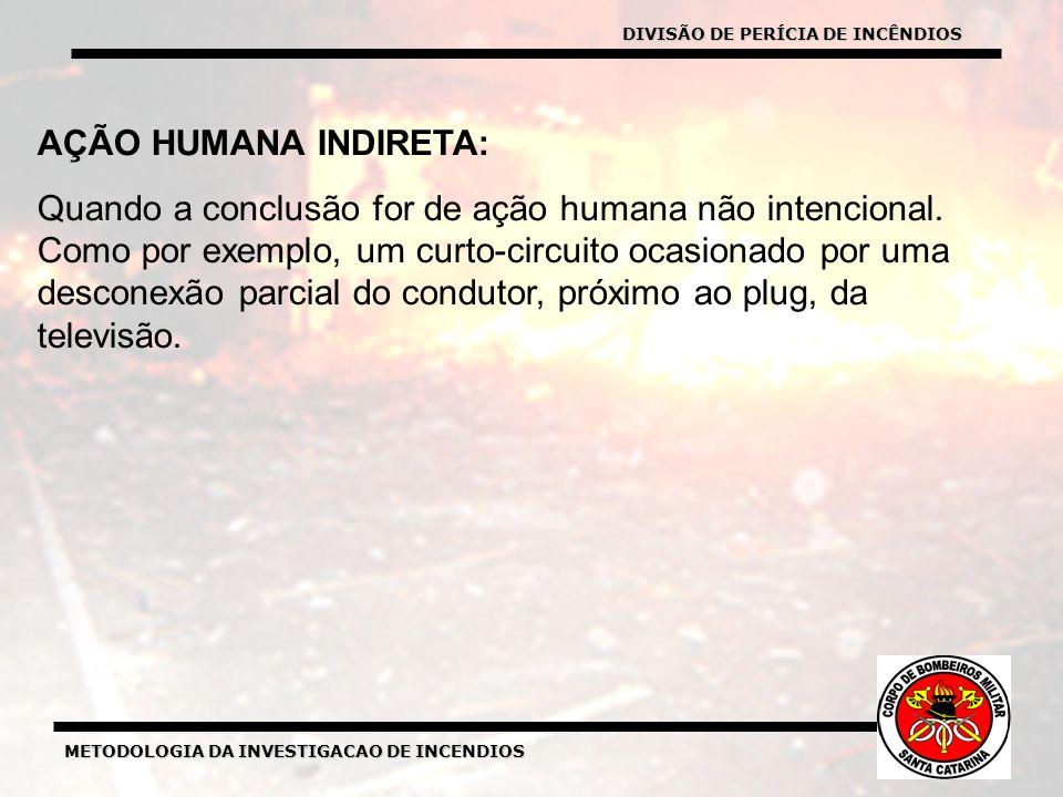 METODOLOGIA DA INVESTIGACAO DE INCENDIOS AÇÃO HUMANA INDIRETA: Quando a conclusão for de ação humana não intencional.