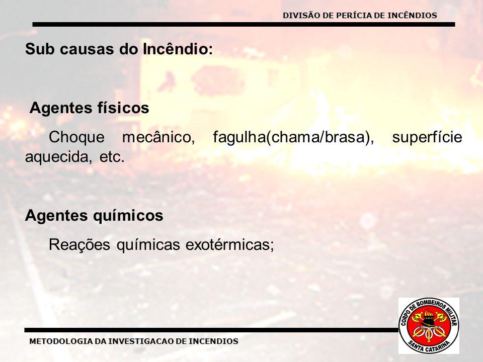 METODOLOGIA DA INVESTIGACAO DE INCENDIOS Sub causas do Incêndio: Agentes físicos Choque mecânico, fagulha(chama/brasa), superfície aquecida, etc.