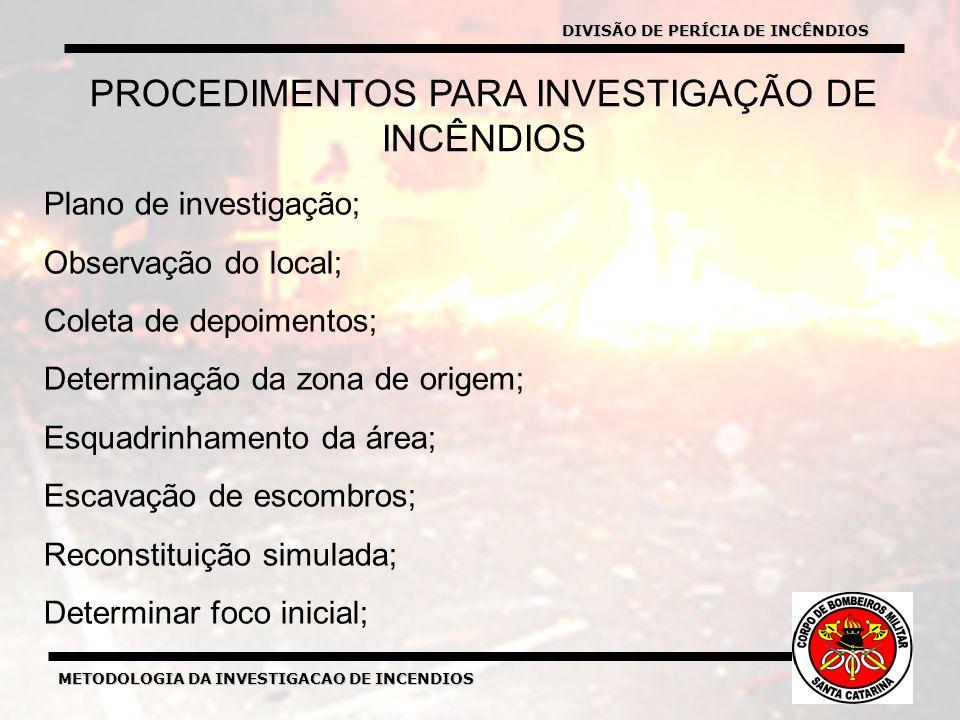 METODOLOGIA DA INVESTIGACAO DE INCENDIOS PROCEDIMENTOS PARA INVESTIGAÇÃO DE INCÊNDIOS Plano de investigação; Observação do local; Coleta de depoimentos; Determinação da zona de origem; Esquadrinhamento da área; Escavação de escombros; Reconstituição simulada; Determinar foco inicial; DIVISÃO DE PERÍCIA DE INCÊNDIOS