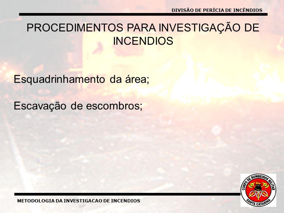METODOLOGIA DA INVESTIGACAO DE INCENDIOS DIVISÃO DE PERICIA DE INCENDIOS METODOLOGIA DA INVESTIGACAO DE INCENDIOS Esquadrinhamento da área; Escavação de escombros; PROCEDIMENTOS PARA INVESTIGAÇÃO DE INCENDIOS DIVISÃO DE PERÍCIA DE INCÊNDIOS