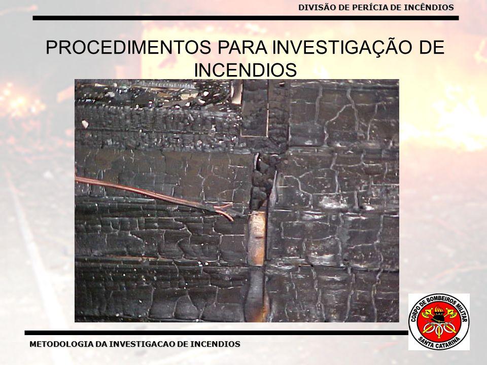 METODOLOGIA DA INVESTIGACAO DE INCENDIOS DIVISÃO DE PERICIA DE INCENDIOS METODOLOGIA DA INVESTIGACAO DE INCENDIOS PROCEDIMENTOS PARA INVESTIGAÇÃO DE INCENDIOS DIVISÃO DE PERÍCIA DE INCÊNDIOS