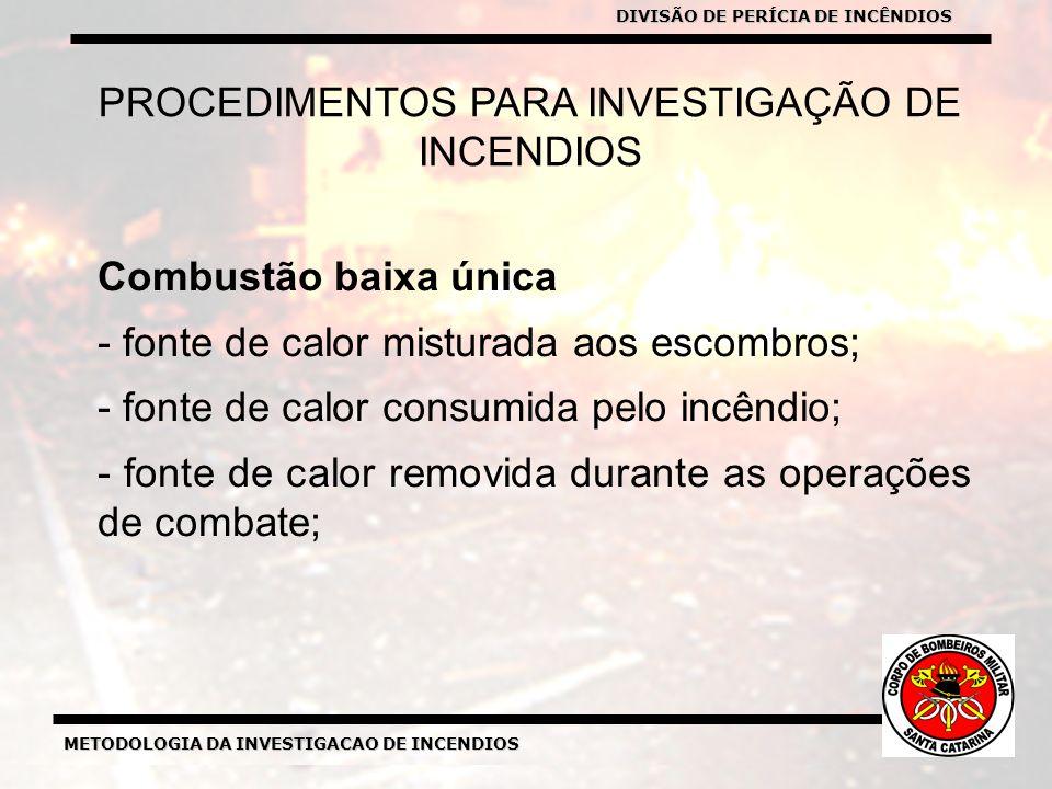 METODOLOGIA DA INVESTIGACAO DE INCENDIOS DIVISÃO DE PERICIA DE INCENDIOS METODOLOGIA DA INVESTIGACAO DE INCENDIOS PROCEDIMENTOS PARA INVESTIGAÇÃO DE INCENDIOS Combustão baixa única - fonte de calor misturada aos escombros; - fonte de calor consumida pelo incêndio; - fonte de calor removida durante as operações de combate; DIVISÃO DE PERÍCIA DE INCÊNDIOS