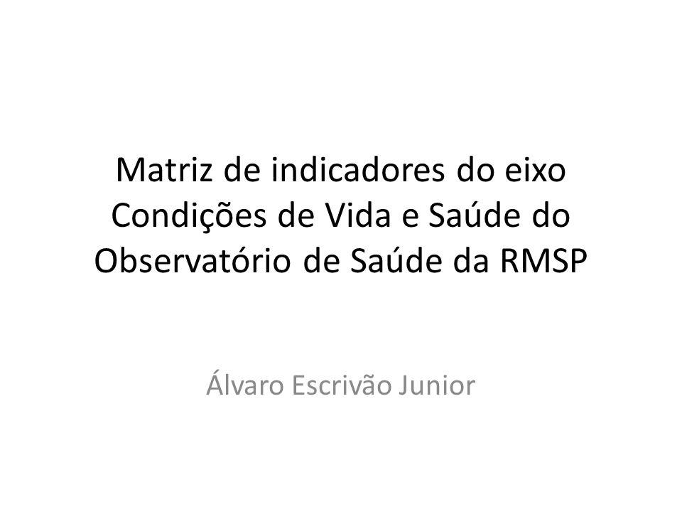 Matriz de indicadores do eixo Condições de Vida e Saúde do Observatório de Saúde da RMSP Álvaro Escrivão Junior