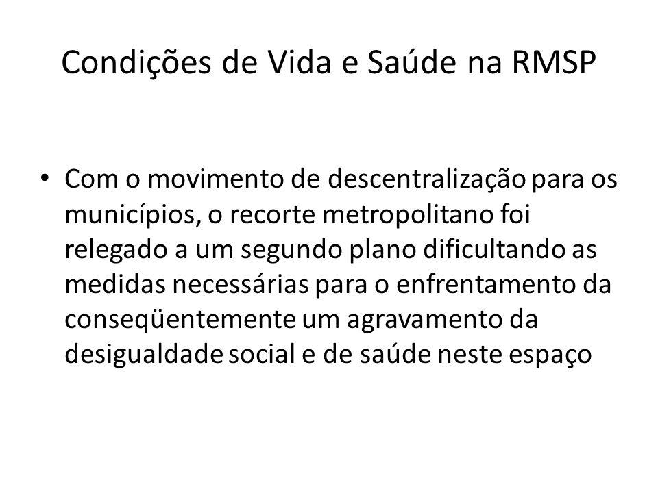 Condições de Vida e Saúde na RMSP Com o movimento de descentralização para os municípios, o recorte metropolitano foi relegado a um segundo plano difi