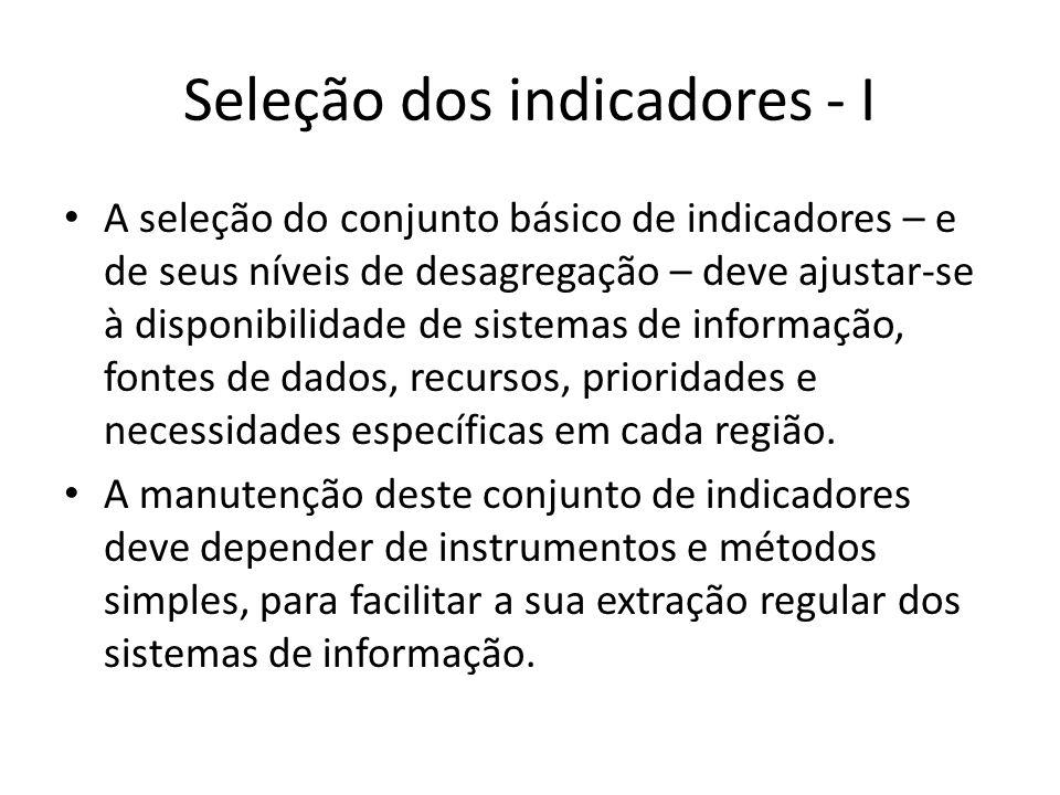 Seleção dos indicadores - I A seleção do conjunto básico de indicadores – e de seus níveis de desagregação – deve ajustar-se à disponibilidade de sist