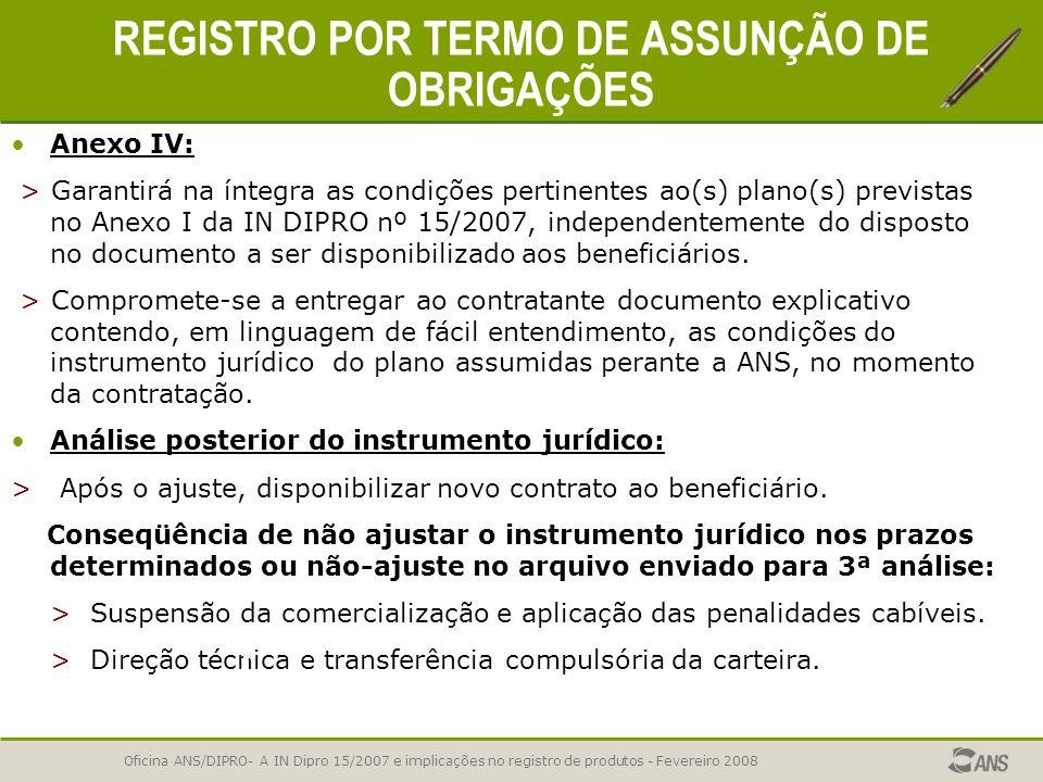 Oficina ANS/DIPRO- A IN Dipro 15/2007 e implicações no registro de produtos - Fevereiro 2008 REGISTRO POR TERMO DE ASSUNÇÃO DE OBRIGAÇÕES Característi