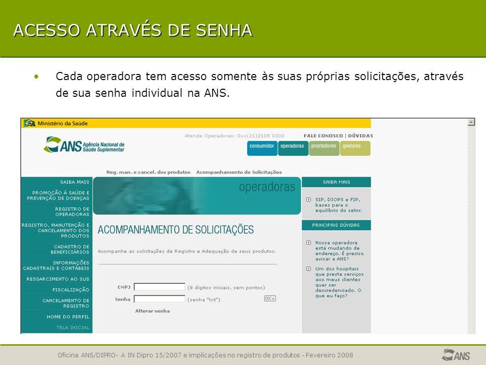 Oficina ANS/DIPRO- A IN Dipro 15/2007 e implicações no registro de produtos - Fevereiro 2008 COMO ACESSAR O ACOMPANHAMENTO Na seção Registrar um Produ