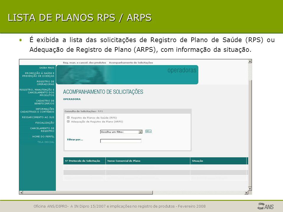 Oficina ANS/DIPRO- A IN Dipro 15/2007 e implicações no registro de produtos - Fevereiro 2008 ACESSO ATRAVÉS DE SENHA Cada operadora tem acesso somente