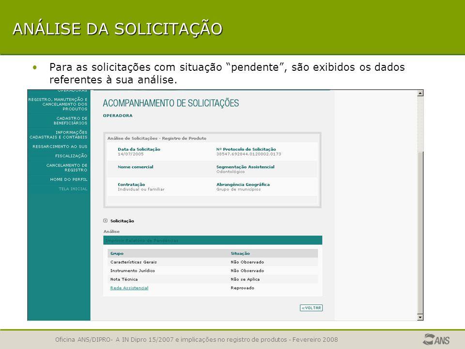 Oficina ANS/DIPRO- A IN Dipro 15/2007 e implicações no registro de produtos - Fevereiro 2008 LISTA DE PLANOS RPS / ARPS É exibida a lista das solicita