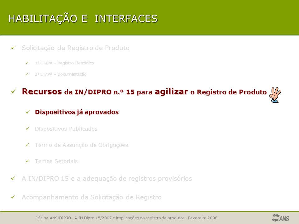 Oficina ANS/DIPRO- A IN Dipro 15/2007 e implicações no registro de produtos - Fevereiro 2008 SOLICITAÇÃO DE REGISTRO DE PRODUTO Relação dos prestadore