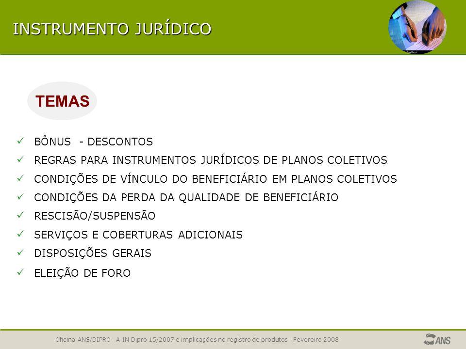 Oficina ANS/DIPRO- A IN Dipro 15/2007 e implicações no registro de produtos - Fevereiro 2008 INSTRUMENTO JURÍDICO CONDIÇÕES DE RENOVAÇÃO AUTOMÁTICA PE