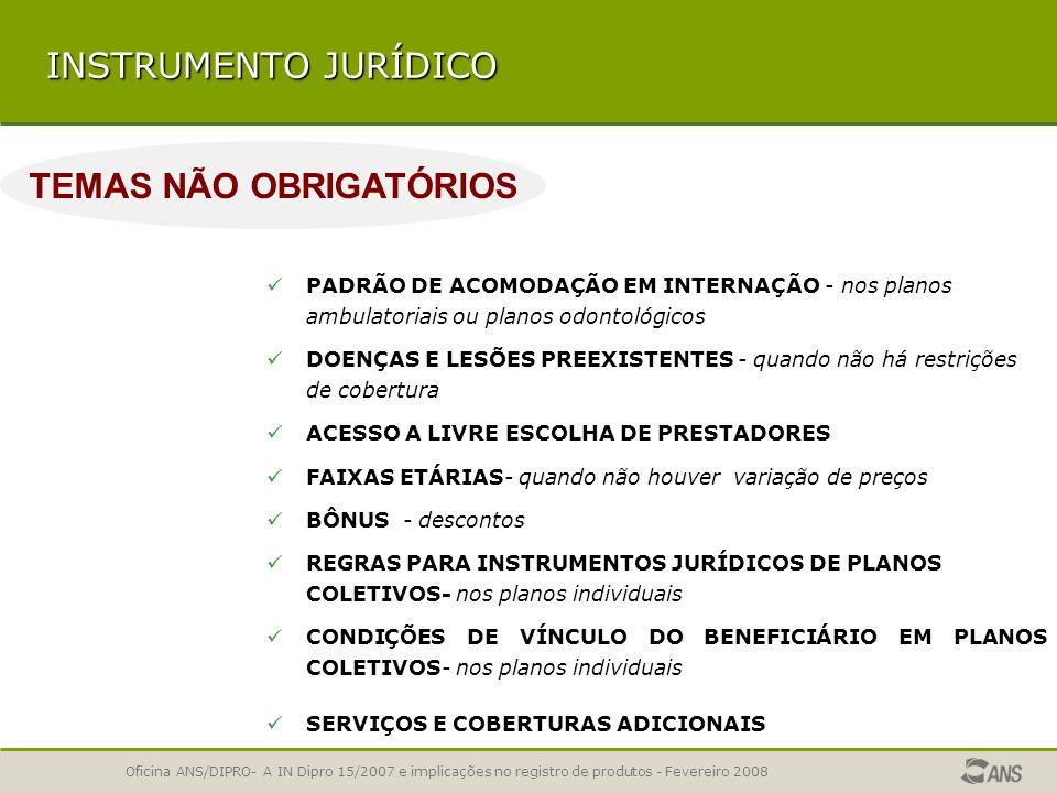 Oficina ANS/DIPRO- A IN Dipro 15/2007 e implicações no registro de produtos - Fevereiro 2008 INSTRUMENTO JURÍDICO BÔNUS - DESCONTOS REGRAS PARA INSTRU