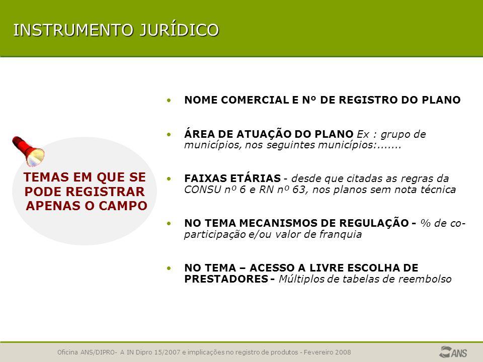 Oficina ANS/DIPRO- A IN Dipro 15/2007 e implicações no registro de produtos - Fevereiro 2008 INSTRUMENTO JURÍDICO PADRÃO DE ACOMODAÇÃO EM INTERNAÇÃO -