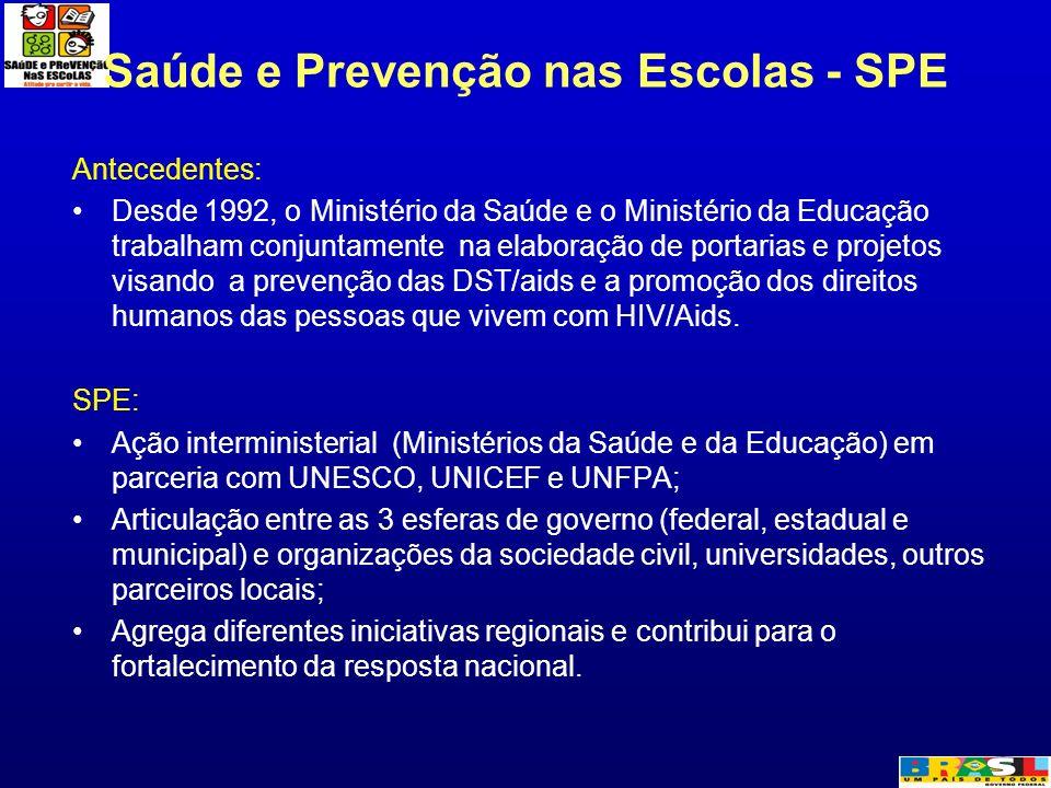 Saúde e Prevenção nas Escolas - SPE Antecedentes: Desde 1992, o Ministério da Saúde e o Ministério da Educação trabalham conjuntamente na elaboração d