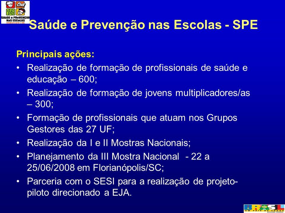 Saúde e Prevenção nas Escolas - SPE Principais ações: Realização de formação de profissionais de saúde e educação – 600; Realização de formação de jov