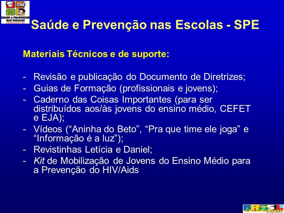 Saúde e Prevenção nas Escolas - SPE Materiais Técnicos e de suporte: -Revisão e publicação do Documento de Diretrizes; -Guias de Formação (profissiona