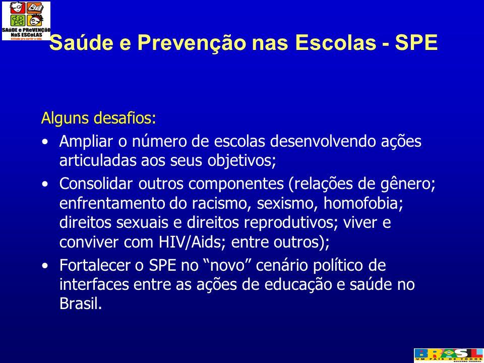 Saúde e Prevenção nas Escolas - SPE Alguns desafios: Ampliar o número de escolas desenvolvendo ações articuladas aos seus objetivos; Consolidar outros
