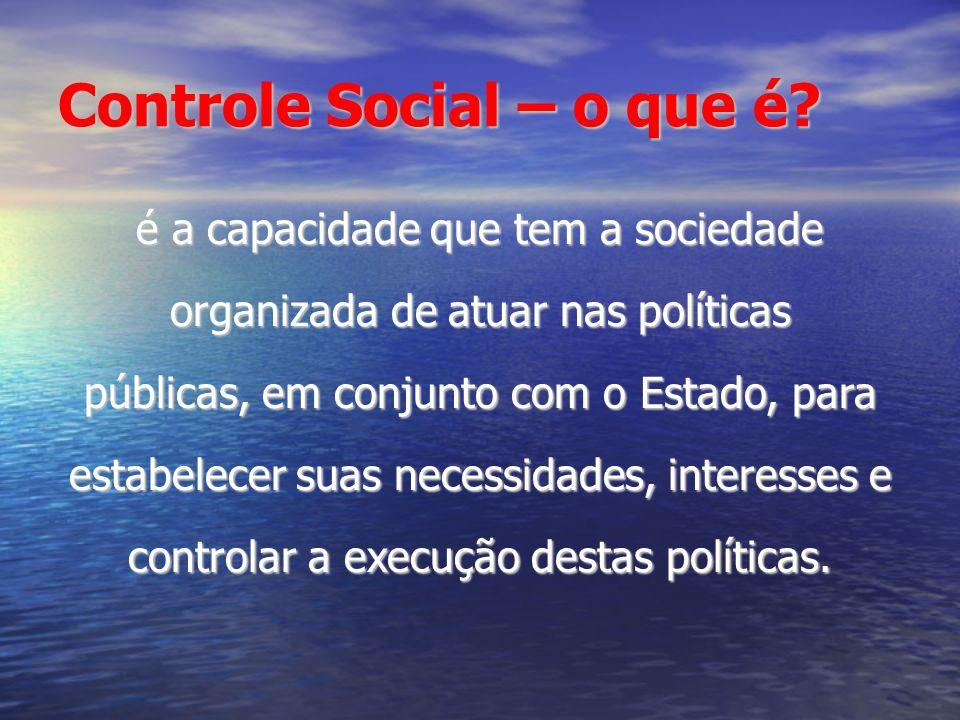 Controle Social – o que é? é a capacidade que tem a sociedade organizada de atuar nas políticas públicas, em conjunto com o Estado, para estabelecer s
