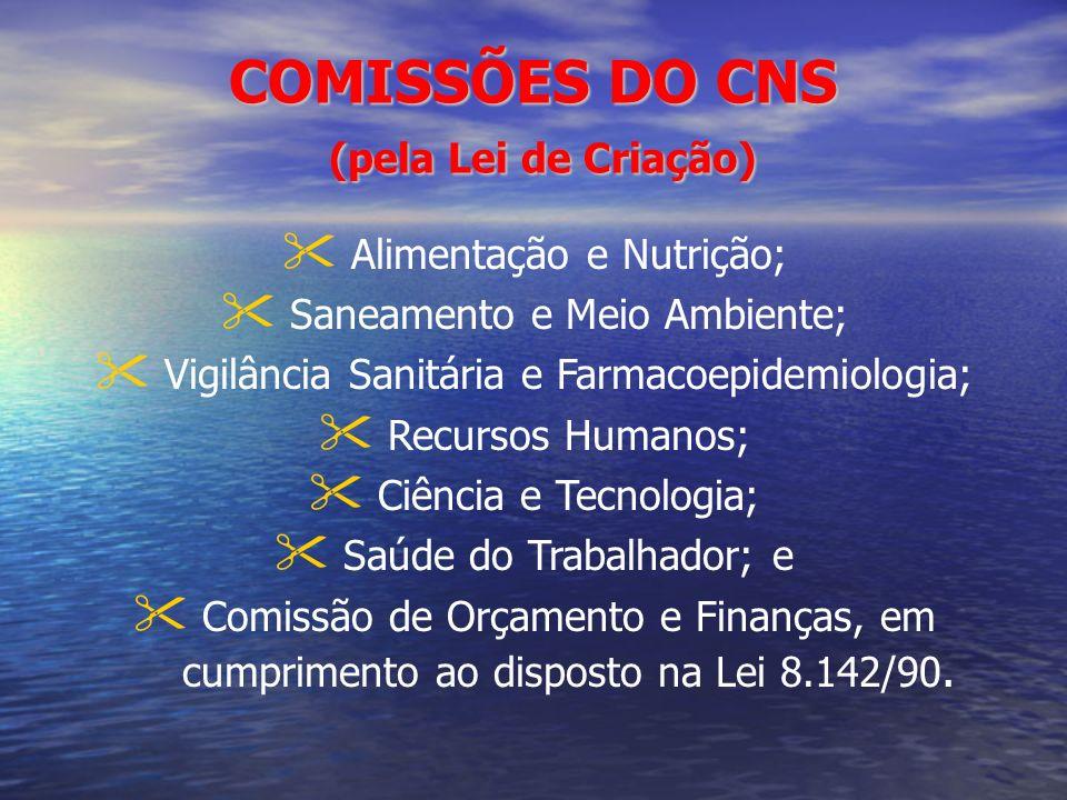 COMISSÕES DO CNS (pela Lei de Criação) Alimentação e Nutrição; Saneamento e Meio Ambiente; Vigilância Sanitária e Farmacoepidemiologia; Recursos Human