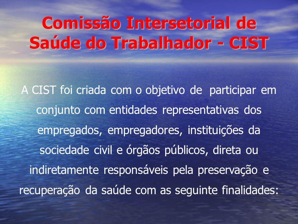 Comissão Intersetorial de Saúde do Trabalhador - CIST A CIST foi criada com o objetivo de participar em conjunto com entidades representativas dos emp