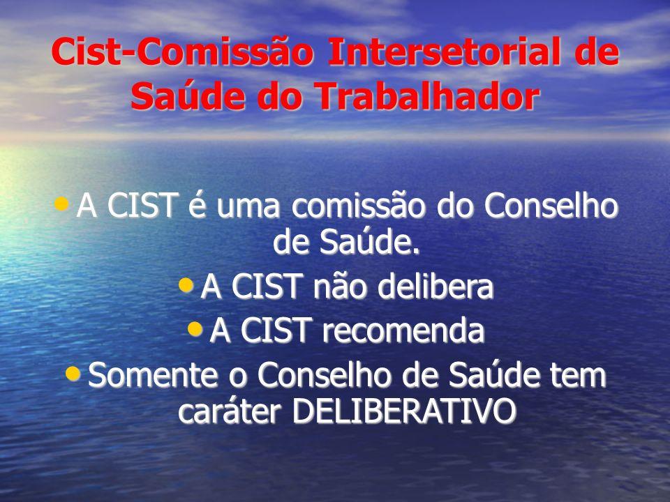 Cist-Comissão Intersetorial de Saúde do Trabalhador A CIST é uma comissão do Conselho de Saúde. A CIST é uma comissão do Conselho de Saúde. A CIST não